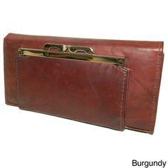 Women's Cowhide Leather Checkbook Wallet | Overstock.com Shopping - The Best Deals on Women's Wallets