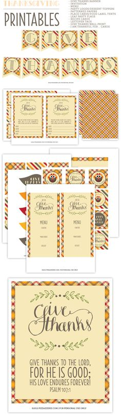 Free set of Thanksgiving Printables for Download via Pizzazzerie...love the plaid.