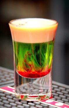 Squished Frog Shot – MELON LIQUEUR, BAILEYS AND GRENADINE
