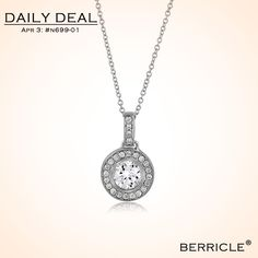 * Daily Deal * Today: $23.50 (Regular: $46.99)  50% OFF, April 03, 2014 only  STERLING SILVER 925 ROUND CUBIC ZIRCONIA CZ CHIC PENDANT NECKLACE   #berricle #jewelry #deal