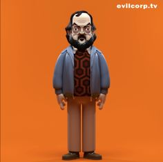 Design by Evil Corp for an as-yet unproduced vinyl figure of director Stanley Kubrick, specific to the period of time he was making The Shining. Sweater inspired by the iconic carpet outside Room 237.