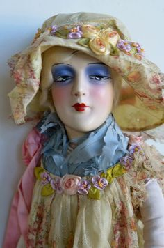 Lovely Anita Boudoir Doll with Ribbonwork Outfit