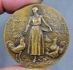 Art Nouveau Agriculture Woman Feeding Birds Bayon Exposition Medal by A. Rivet