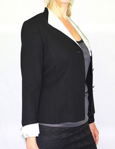 Get it at Bad Reputation Boutique! NWT Danny & Nicole Black Blazer/Jacket w/Lt Green Satin #Pinstripe Lapel - Size 8 #DannyNicole #Blazer #Jacket #Satin #BusinessAttire #DinnerJacket