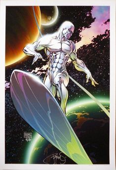 Silver Surfer by Michael Turner colored by Peter Steigerwald #MichaelTurner #PeterSteigerwald #SilverSurfer #NorrinRadd #TheDefenders #GalactusHerald #ZennLa