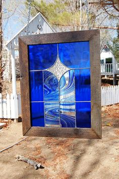 Handcrafted Large Stained Glass Panel with Rustic Barnwood Frame - Window Hanging - Blue/Swirl Blue/ Textured Clear