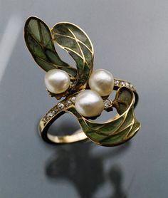 Ring | Georges Le Turcq. Gold, plique-a-jour enamel, diamond & pearl. French. Circa 1900.