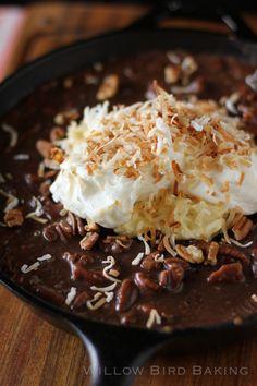 Gooey Chocolate Coconut Cream Skillet Cake - recipe at http://willowbirdbaking.com/2013/06/18/gooey-chocolate-coconut-cream-skillet-cake/
