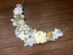Princesse - Silver Ivory :: Vintage Handmade Necklace :: Handmade necklace shimmers in silver, ivory, and a bit of gold touch
