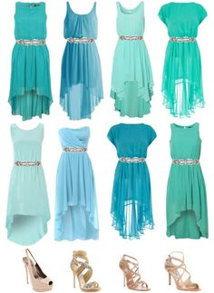 Mismatched teal bridesmaids! love all of these!!