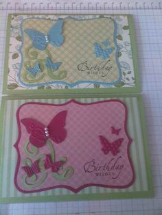 """Girls Cards # 15 - Butterflies / Top Note / Swirls. Pictured Card Size 4""""x 6"""". Stampin Up"""