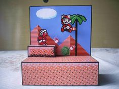 Diorama Mario 3 - Montado - 03 by Jhonat on DeviantArt Super Mario Bros, Mega Drive Games, Nintendo, Drawing Games, Minecraft Houses, Shadow Box, Game Room, Pixel Art, Toy Chest