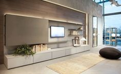 I'm pretty happy with this exact wall unit configuration. I love that the panel can slide to hide the TV Living Room Tv, Living Room Modern, Living Room Interior, Home Interior Design, Home And Living, Interior Architecture, Living Room Designs, Interior Livingroom, Home Theather