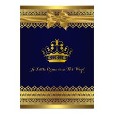 Royal Blue and Gold Crown Baby Shower Invitation