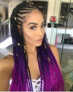 We are loving these ombré cornrows!!! if you want the look use #rastafribraid highlight jumbo braid hair in the color 3T1B/pp/pk