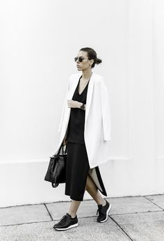 MODERN LEGACY, fashion blog, sport luxe, street style, monochrome, common projects, leather sneakers, ellery skirt