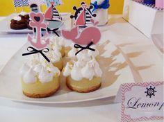 SD Eventos: LISTOS PARA ZARPAR! Mesa dulce temática Náutico niña Nautic girl party Sweet table  Mini tortas temáticas Lemon pie