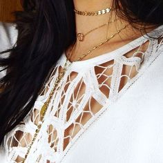 Dainty gold layering chokers and necklaces