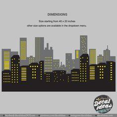 City Skyline Superhero Wall Decals Marvel Wall Decals | Etsy Kids Bedroom Boys, Nursery Wall Decals, Superhero, City, Instagram, Wall Stickers For Nursery, Cities
