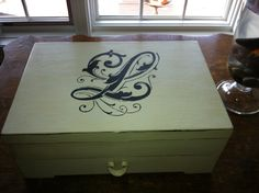 Vintage silverware box after I added our monogram. Annie Sloan Chalk Paint.