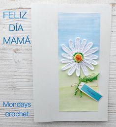 Tarjeta de felicitación con margarita de crochet Margarita Crochet, Mondays, Diy, Greeting Card, Crochet Flowers, Crafts For Kids, Family Meeting, Mothers, Tejido