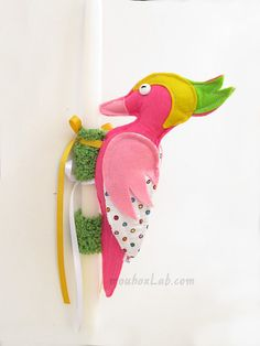 Easter candle with fuchsia woodpecker  Easter lambade by mouhoxlab