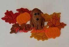 Fondant Dog with Autumn Leaves Cake Topper Kit, Fondant Pumpkins, Fall leaves cake decorations, Handmade Edible Fall cake decorations