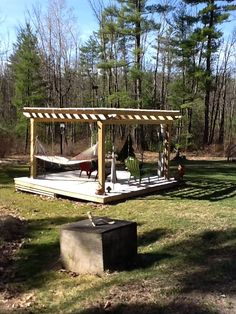 April 15, 2015 Pergola.  Hammock waiting for warm temps.
