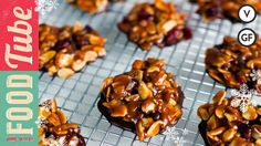 Florentines. Ingredients: 50g unsalted butter; 100g caster sugar; 100g soft light brown sugar; 50g creme fraiche; 1 piece  stem ginger; 150g flaked almonds; 50g dried cranberries; 50g mixed peel; 1 tsp vanilla extract; 1/4 tsp bicarbonate of soda; 50g chocolate.