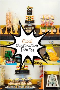 Cool Construction Birthday Party Ideas - Spaceships and Laser Beams 2 Year Old Birthday Party, Second Birthday Ideas, Birthday Fun, First Birthday Parties, Birthday Party Decorations, First Birthdays, Birthday Banners, Fourth Birthday, Kid Parties