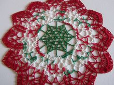 Christmas Crochet  Doily - Christmas decoration - White Red and Green Doily - Table decor - Christmas Gift - Vintage style - Heirloom by ElenisCrochet on Etsy