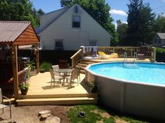 Above ground pool deck. Deck. Patio. Deck stairs.