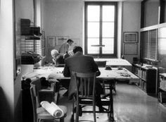 Office of Pier Luigi Nervi. Nervi at middle table.