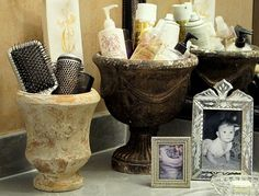 Cleaned Garden pots as bathroom storage @ Home Improvement Ideas