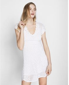 Crochet Fit And Flare Dress White Women's Medium Cute Dresses, Casual Dresses, Fashion Dresses, Fit And Flare, White Women, Flare Dress, Cool Outfits, White Dress, Short Sleeve Dresses
