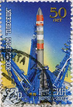 50th anniversary of Plesetsk Cosmodrome  , a Russian spaceport dates from 1957 .  Russian space stamp    , 2007.