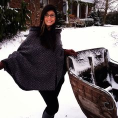 u:her's first Women's Poncho! Made of charcoal wool with a black chevron pattern and flecks of pink, white and black! Lined with charcoal fleece :). Ladies Poncho, Black Chevron, Pink White, Charcoal, Custom Design, Fur Coat, Women Wear, Wool, Winter
