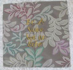 Original art embroidery inspirational be a voice by Stitchallday, $75.00