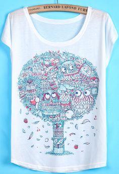 Camiseta buhó árbol manga corta-blanco 6.72