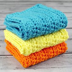 Set of 3 - Crocheted Turquoise Yellow Orange Dish Wash Cloths by ronisboutique, $18.00 USD