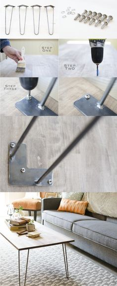 DIY Hairpin Leg Coffee Table - ellavine.com - Mesita con pies hairpin