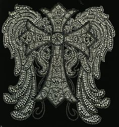 Rhinestone Transfer Angel wing with cross rhinestone Iron On Hot Fix Motif Bling Applique - DIY