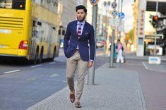 navy blazer chinos blue shirt mens street style