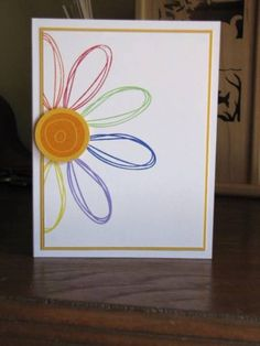 Primary Flower by k prakken - Cards and Paper Crafts at Splitcoaststampers Homemade Greeting Cards, Homemade Cards, Scrapbook Cards, Scrapbooking, Thank U Cards, Balloon Wreath, Birthday Card Drawing, Handmade Card Making, Spirograph