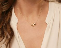 Side Anchor Necklace Gold Silver or Rose Gold / by LayeredAndLong