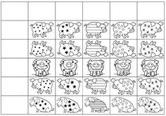 Kindergarten Math Activities, Preschool Printables, Preschool Worksheets, Activities For Kids, Visual Perception Activities, Farm Unit, Three Little Pigs, Toddler Preschool, Algebra