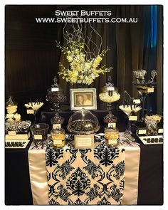 Black and White Damask Wedding Lolly Buffet