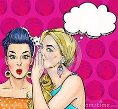 Meninas do pop art com bolha do discurso Convite do partido Cartão do aniversário Cartaz da propaganda do vintage Mulher cômica