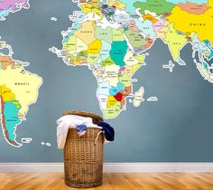 Mudroom map - Printed World Map Vinyl Wall Sticker
