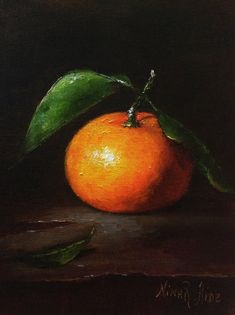 Still Life with Clementine is my Original Oil Painting painted in chiaroscuro style on archival quality linen panel 7x5 inches. Painted from life